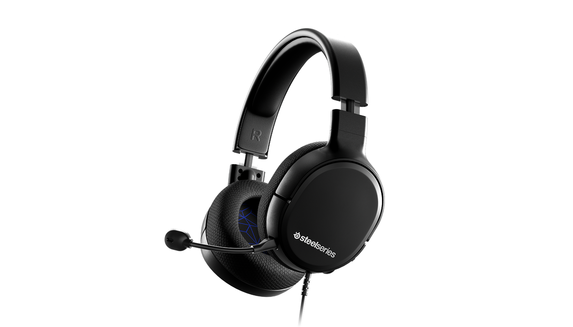 Arctis 1 for PS4 gaming headset angled with microphone attached