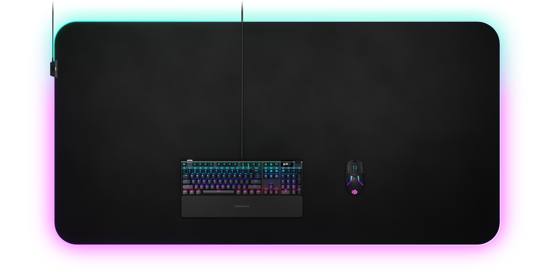 Mouse pad viewed from above with keyboard and mouse to show comparative sizing
