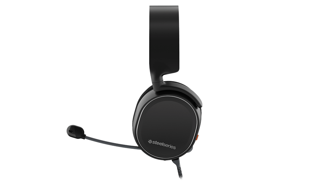 Side profile of Arctis 3 Console Edition headset with the microphone in the extended position