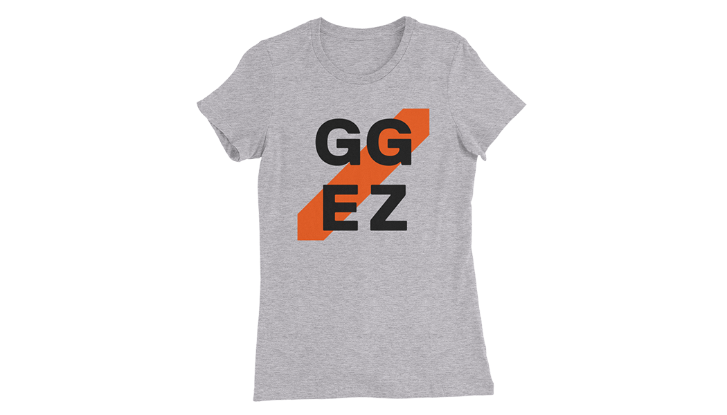 Women's T-Shirt in large, GG EZ printed on front with orange diagonal stripe