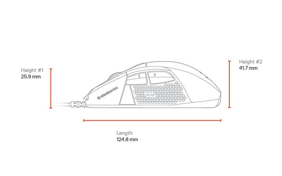 Dimensions latérales de la Rival710: longueur: 124,8mm; hauteur n°1 à l'avant: 25,9mm; hauteur n°2 à l'arrière: 41,7mm