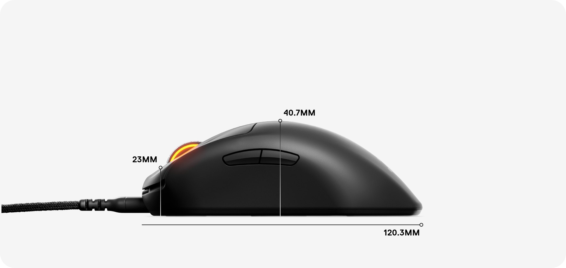 Dimensions for the mouse: 120,3 MM in length, 40,7 MM from palm rest to base, and 23 MM from scroll wheel to base.