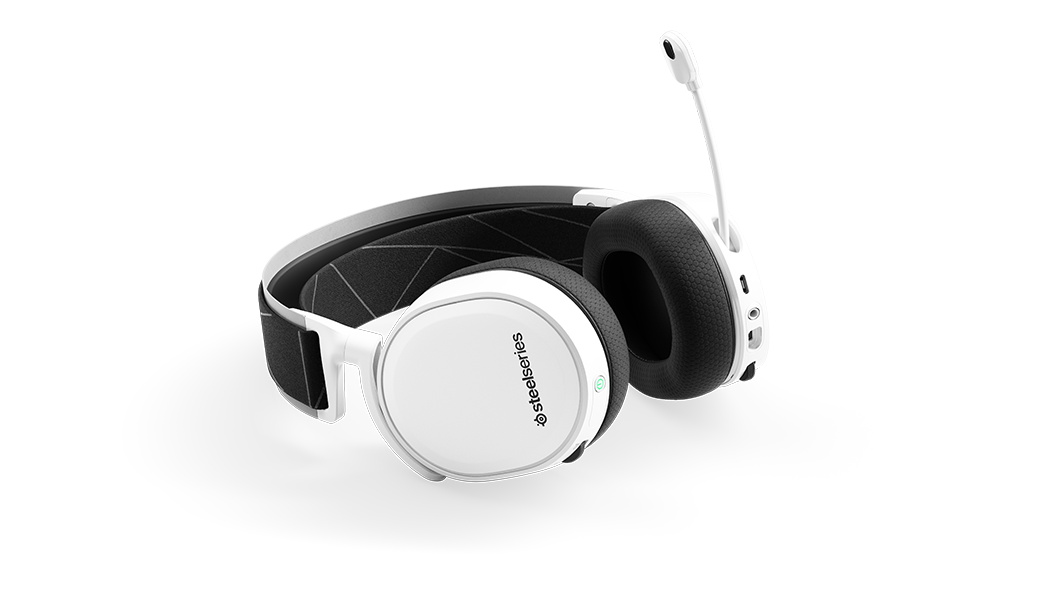 Arctis 7 White laying flat with the microphone in the extended position