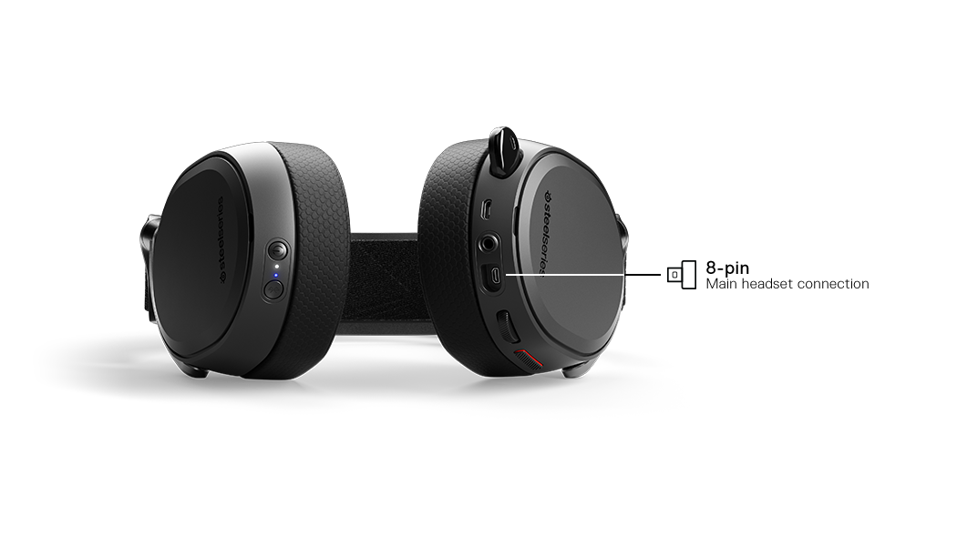 Arctis Pro -  Hi-res Profesyonel Gamer Kulaklık shown from bottom to show where cable connects into headset