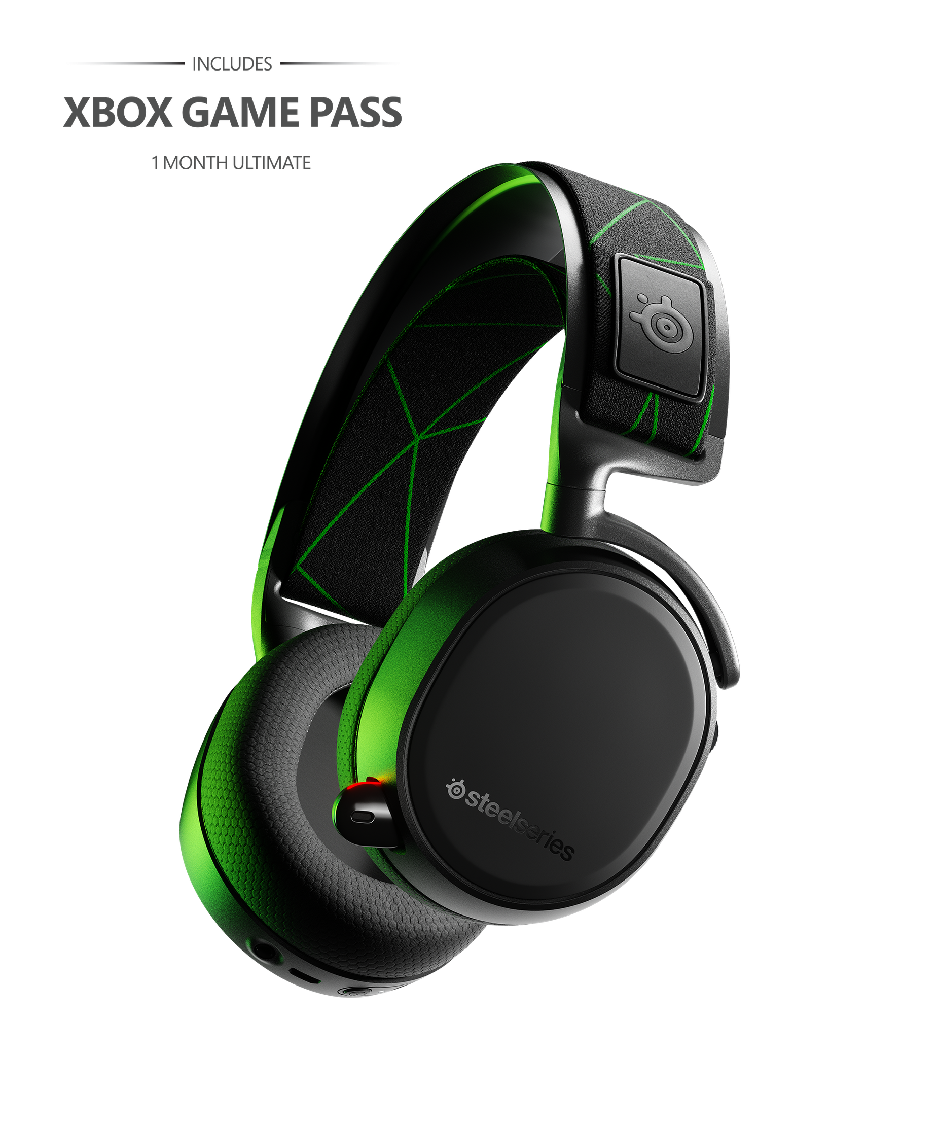 """Arctis 9X with text reading """"Includes Xbox Game Pass: 1 Month Ultimate."""""""